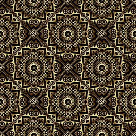 Luxury gold 3d seamless pattern. Vector arabesque mandalas beautiful background. Ethnic greek repeat backdrop. Golden vintage lacy flowers, mandalas. Textured surface ornate design. Gold texture. 向量圖像
