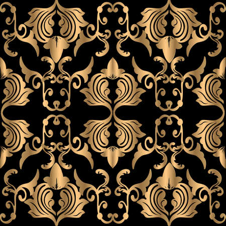 Gold Baroque seamless pattern. Vector luxury patterned background. Floral repeat ornate backdrop. Beautiful elegant vintage ornament with golden flowers, leaves. Ornamental decorative design.