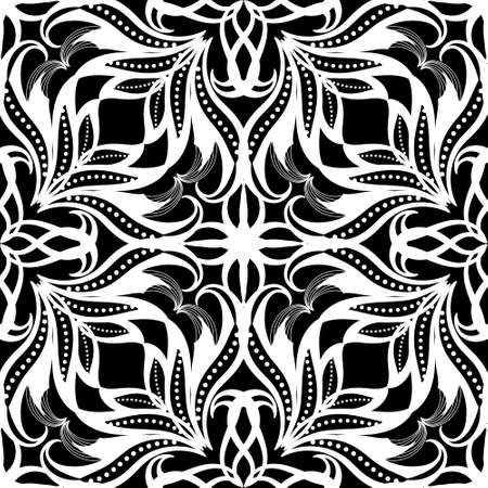 Floral seamless pattern. Vector black and white ornamental background. Ethnic style repeat decorative backdrop. Hand drawn ornate ornament. Vintage elegance flowers, leaves, curves, shapes, dots.