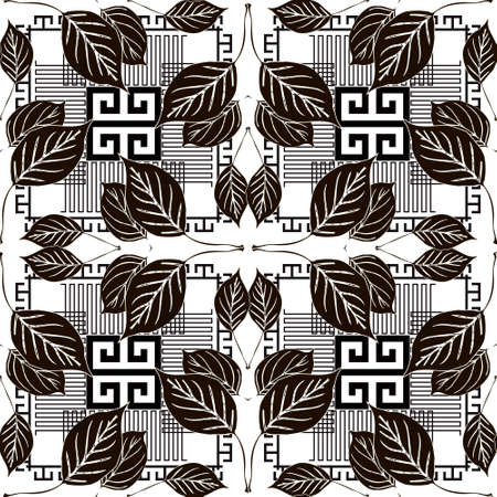 Leafy seamless pattern. Black and white geometric greek style vector background. Repeat floral backdrop. Modern abstract ornaments with lines, stripes, leaves, symbols, signs. Greek key, meanders. 向量圖像