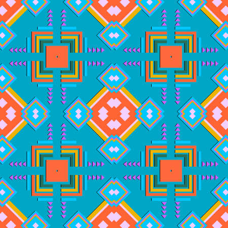 Geometric ornamental seamless pattern. Abstract vector patterned background. Tribal ethnic style geometrical repeat backdrop. Symmetrical geometry shapes ornaments. Design for prints, fabric, textile.
