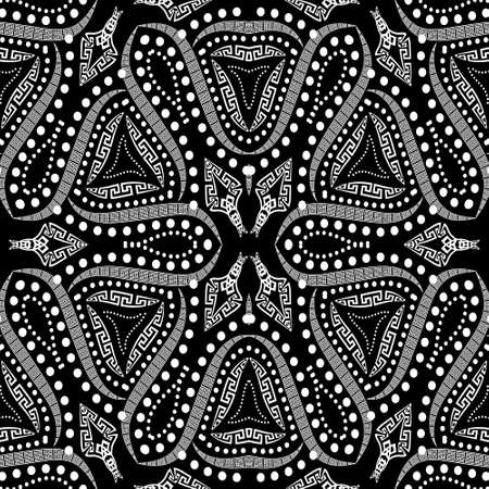 Curves vector seamless pattern. Black and white floral background. Repeat decorative modern backdrop. Greek key meanders ethnic ornaments with curves, dots, abstract shapes. Fantasy ornate design. 向量圖像