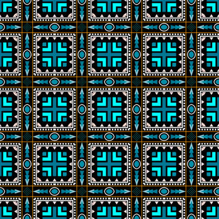 Geometric colorful vector seamless pattern. Ethnic ornamental abstract background. Tribal repeat decorative backdrop. Plaid style ornament. Abstract shapes, squares, zig zag lines, dots, triangles. 向量圖像