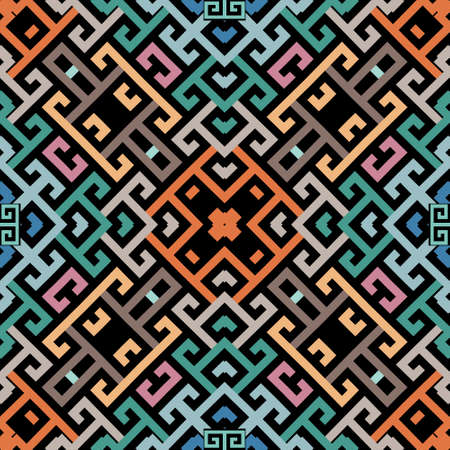 Geometric greek vector seamless pattern. Abstract tribal ethnic style background. Repeat colorful trendy backdrop with lines, mazes, shapes. Greek key meanders geometrical elegant modern ornaments.
