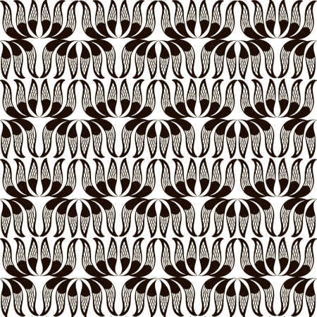 Floral black and white seamless pattern. Vector ornamental elegance background. Repeat decorative monochrome backdrop. Beautiful symmetrical ornament on white. Modern design for fabric, prints, cards. 向量圖像