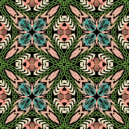 Floral beautiful seamless pattern. Ethnic greek style ornamental vector background. Abstract flowers, shapes, lines. Repeat patterned colorful backdrop. Greek key meander ornaments. Ornate design.