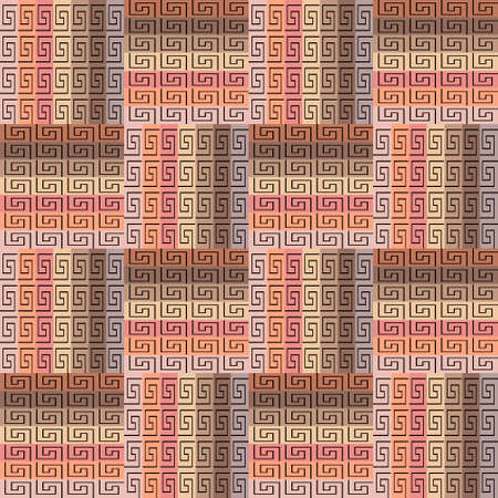 Striped plaid seamless pattern. Geometric tartan greek vector background. Tribal ethnic style repeat backdrop. Elegant abstract greek key ornament with meanders, mazes, shapes, squares, stripes. 向量圖像
