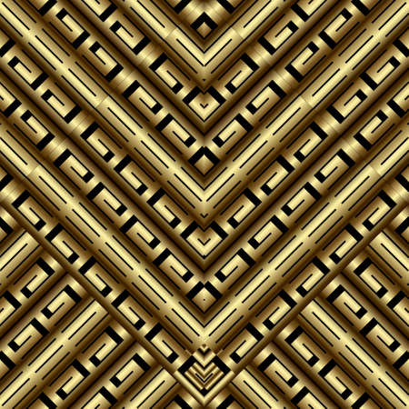 Gold 3d ornate greek seamless pattern. Geometric ornamental vector background. Tribal ethnic style repeat luxury backdrop. Elegant abstract greek key ornaments with meanders, mazes, shapes, rhombus.