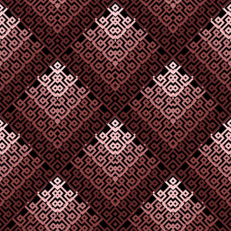 Greek seamless pattern. Geometric ornamental vector background. Tribal ethnic style repeat backdrop. Elegant abstract tiled greek key ornaments with meanders, mazes, shapes, rhombus. Ornate design.