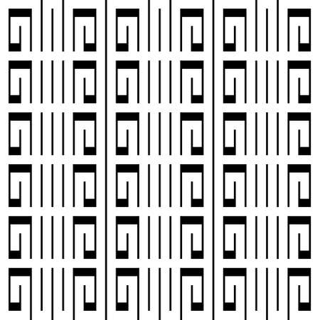 Black and white greek vector seamless pattern. Elegant ornamental tribal ethnic style background. Striped repeat backdrop. Geometric modern ornament with abstract shapes, lines, greek key, meanders.