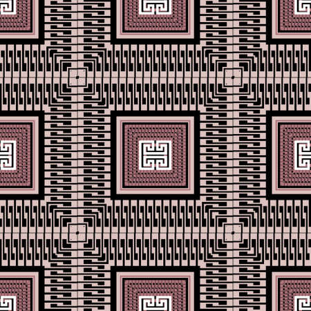 Tribal ethnic style plaid seamless pattern. Geometric tartan vector background. Greek repeat backdrop. Elegant abstract greek key ornaments with meanders, mazes, shapes, squares. Ornate design. 向量圖像