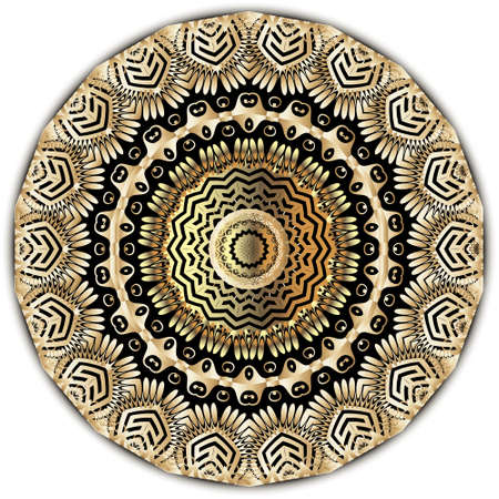 Gold floral round mandala pattern. Luxury arabic style background. Greek frames, lines, shapes, flowers, leaves, circles. Gold 3d ornaments. Decorative ornate design for cards, prints, fabric, wall. 向量圖像