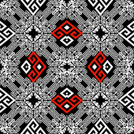 Black white red geometric tribal greek vector seamless pattern. Ethnic style ornamental abstract background. Decorative traditional ornaments with rhombus, frames, geometry shapes, greek key, meander.