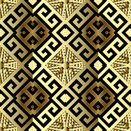 Gold geometric 3d greek vector seamless pattern. Ornamental textured geometry background. Patterned surface grunge design. Ornate greek key meander ancient luxury ornaments. Repeat modern backdrop.