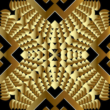 Gold geometric 3d vector seamless pattern. Ornamental textured geometry background. Patterned surface grunge design. Ornate luxury ornaments. Repeat modern grungy backdrop. For wallpaper, fabric. 向量圖像