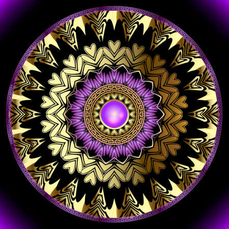 Gold jewelry round vector mandala pattern. Luxury floral background. Greek frames, lines, mazes, shapes, flowers, leaves, circles. Greek key meanders gold 3d ornaments with surface violet gemstones.