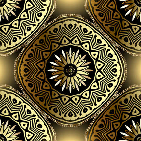 Gold arabic seamless mandalas pattern. Vector ornamental glowing background. Abstract floral round ornaments with shapes, lines, flowers, leaves, circles, frames, meanders. Ornate greek style design. 向量圖像