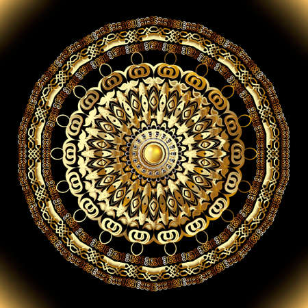 Lace arabic style round mandala pattern. Floral luxury background. Gold jewelry arabesque ornament. 3d button gemstone. Beautiful ornate decorative design. Modern patterned backdrop. Golden flower.