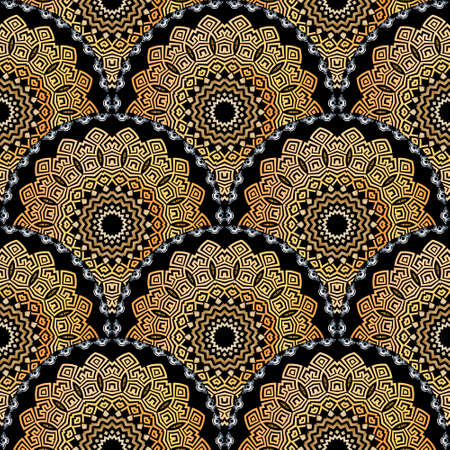 Deco greek tiled mandalas seamless pattern. Vector ornamental ethnic style floral background. Repeat patterned tribal backdrop. Ancient greek key, meanders ornament. Geometric ornate modern design.