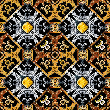 Baroque jewelry seamless pattern. Black vector damask background wallpaper with vintage gold silver flowers, scroll leaves, diamond gem stones. Ornate beautiful ornament. Luxury modern elegant design. 向量圖像