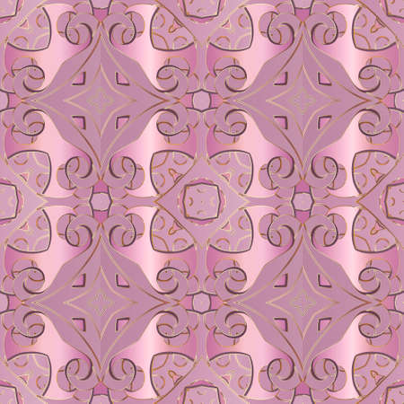 Floral seamless pattern. Ethnic style ornamental vector background. Beautiful pink violet flowers, swirls, shapes, lines. Repeat patterned backdrop. Luxury ornaments. Ornate elegance modern design.