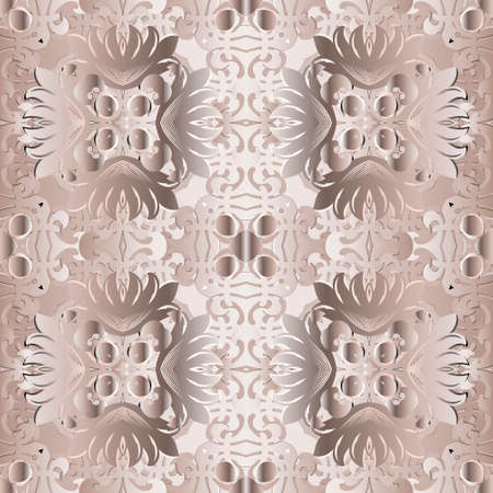Floral seamless pattern. Baroque style ornamental vector background. Beautiful beige vintage flowers, swirls, shapes, lines. Repeat patterned backdrop. Luxury ornaments. Ornate elegance modern design.