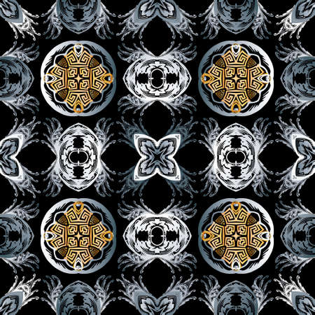 Baroque seamless pattern. Black vector damask background wallpaper with vintage gold silver flowers, scroll leaves, meanders and greek key ornaments. Ornate beautiful texture. Luxury modern design. 向量圖像