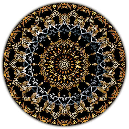Vintage mandala pattern. Vector ornamental greek floral background. Patterned Baroque backdrop. Ancient greek key, meanders ornament. Geometric ornate modern design. Old style flowers, leaves, shapes.
