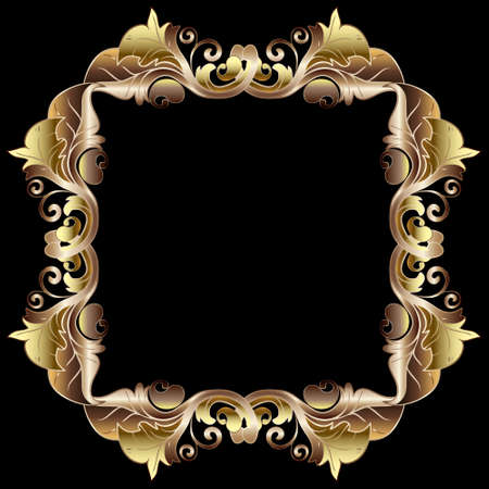 Gold baroque frame. 3d vector vintage pattern. Floral background with golden border, leaves, Paisley flowers and square ornaments in baroque victorian style. Luxury ornate design. Surface texture.