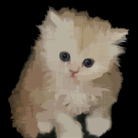 Persian kitten. Vector textured image. Little cat. Grunge background. Cute pet. Nice animal. Grungy dirty rough drawn texture. Beautiful decorative design. Clip art illustration. Young cat.