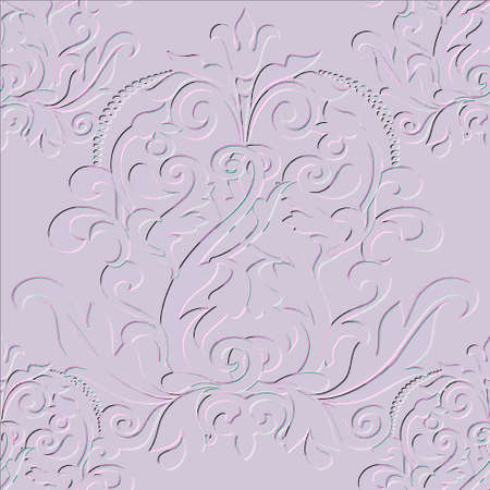 Damask embossed 3d seamless pattern. Vector floral textured background. Vintage beautiful Baroque style grunge ornaments with embossing effect. Repeat backdrop. Ornate flowers, leaves. Endless texture