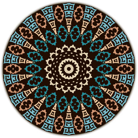 Greek round mandala pattern. Vector ornamental ethnic style floral background. Ornate patterned tribal backdrop. Ancient greek key, meanders, circles ornament. Geometric modern colorful design.