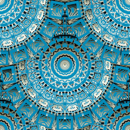 3d round mandalas seamless pattern. Textured half tone background. Vector dotted repeated grunge backdrop. Ethnic tribal greek style Deco ornaments. Circles, dots, frames, borders. Abstract shapes. Ilustração