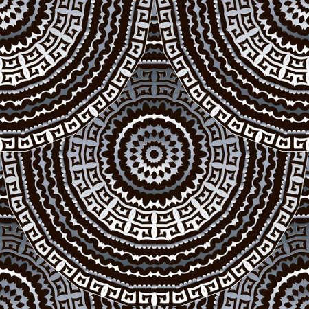 Deco greek 3d mandalas seamless pattern. Ornamental ethnic style floral background. Repeat tribal vector backdrop. Ancient greek key, meanders, zigzag ornament. Geometric ornate modern silver design. Ilustração