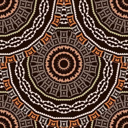 Deco greek round mandalas seamless pattern. Vector ornamental ethnic style floral background. Repeat patterned tribal backdrop. Ancient greek key, meanders, circles ornament. Geometric modern design. Ilustração