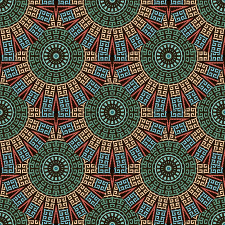 Deco greek round mandalas seamless pattern. Vector ornamental ethnic style floral background. Repeat patterned tribal backdrop. Ancient greek key, meanders, circles ornament. Geometric modern design. Illusztráció