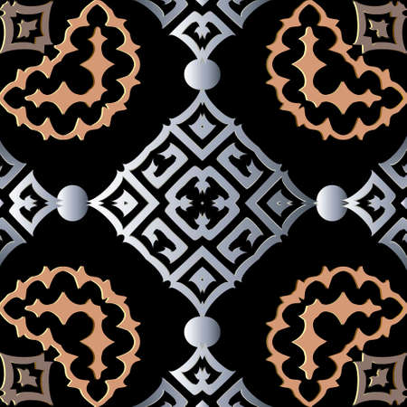 Modern 3d vector seamless pattern. Abstract tribal ethnic arabesque style background. Repeat colorful arabic backdrop with lines, shapes, flowers, circles, rhombu. Greek ornate geometric ornaments. Illusztráció