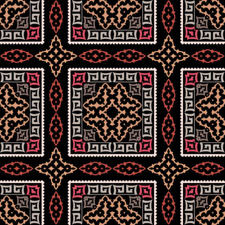 Plaid greek vector seamless pattern. Abstract tribal ethnic arabesque style background. Repeat colorful backdrop with squares, frames, borders, lines, shapes. Greek key geometric tartan ornaments.