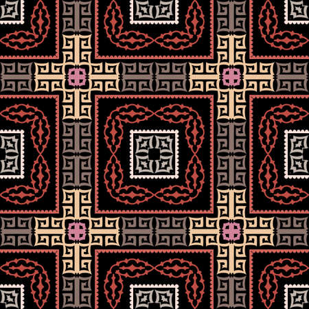 Tartan greek vector seamless pattern. Abstract tribal ethnic arabesque style background. Repeat colorful arabic backdrop with lines, shapes. Greek key meanders geometric plaid ornament. Modern design
