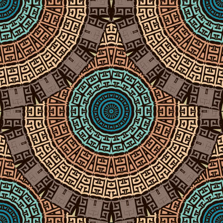Deco greek round mandalas seamless pattern. Vector ornamental ethnic style floral background. Repeat patterned tribal backdrop. Ancient greek key, meanders, circles ornament. Geometric modern design. Imagens