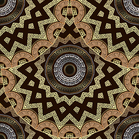 Deco greek 3d mandalas seamless pattern. Ornamental ethnic style floral background. Repeat tribal vector backdrop. Ancient greek key, meanders, zigzag ornament. Geometric ornate modern gold design.