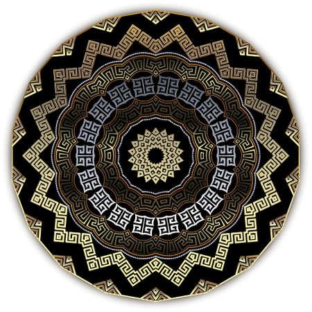 Zig zag greek 3d mandala pattern. Ornamental ethnic style floral background. Tribal luxury vector backdrop. Ancient greek key, meanders, zigzag, flowers ornament. Geometric ornate modern round design.