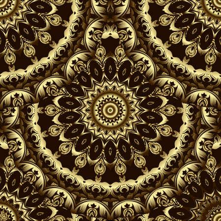 Gold Baroque round 3d mandalas seamless pattern. Ornamental vector Deco background. Vintage floral golden ornaments. Repeat luxury backdrop. Beautiful golden design with circles, flowers, leaves. Ilustração