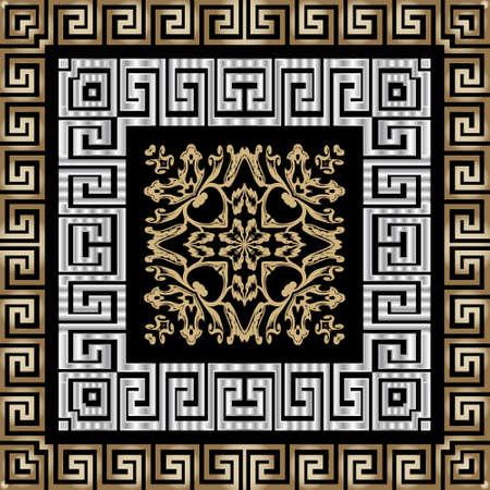 Greek square frames seamless pattern. Ornamental geometric background. Repeat plaid tartan backdrop. Vintage Baroque style floral ornament. Greek key, meanders borders. Golden flowers, leaves, shapes.