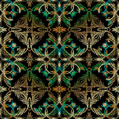 Textured Baroque floral seamless pattern. Tapestry vector background. Grunge repeat backdrop. Embroidery vintage Damask ornaments. Colorful embroidered flowers, leaves, lines. Luxury ornate design. Ilustração
