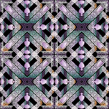 Greek waffle seamless pattern. Ornamental geometric vector background. Repeat backdrop. Tribal ethnic style abstract ornament. Greek key, meanders rhombus frames, borders. Symmetrical ornate design.