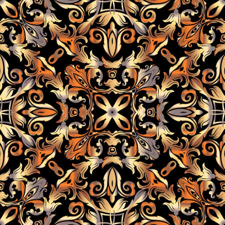 Vintage gold Baroque seamless pattern. Luxury ornamental floral background. Repeat decorative Damask backdrop. Ornate beautiful ornaments in autumn colors. Victorian baroque style flowers, leaves. Ilustração