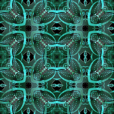Lines seamless pattern. Ornamental modern vector background. Tribal ethnic style gepmetric repeat backdrop. Floral line art green ornament. Abstract flowers, radial shapes, zigzag lines. Ornate design Ilustração