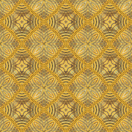 Waffle grunge seamless pattern. Geometric vector textured background. Lines floral ornament. Repeat rough backdrop. Tapestry texture. Embroidery line art design. Abstract shapes, flowers, rhombus.