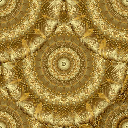 Gold tapestry mandalas seamless pattern. Textured Deco 3d background. Grunge floral golden ornament. Repeat luxury backdrop. Embroidery vector design with circles, flowers, lines. Embroidered texture.